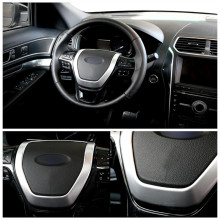 Para Ford Explorer 2011-2016 ABS Chrome Interior Guarnição da Tampa do Volante Decorativo 1 pçs/set
