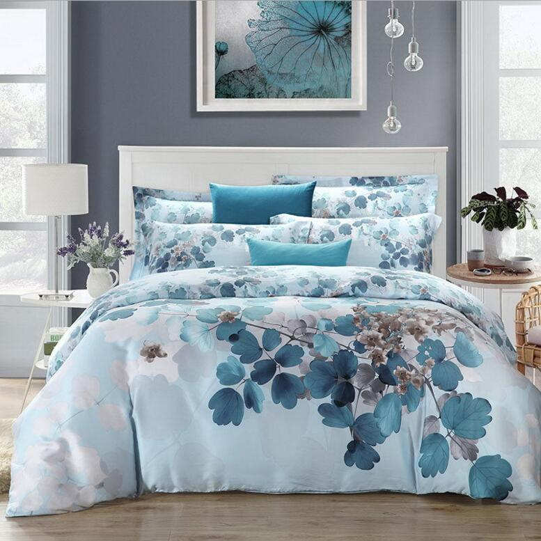 Chinese Style Tencel Silk Bedding Set Luxury 4pcs Blue Green Pink Purple Print Soft Duvet Cover Bedclothes Bed Sheet 2017 New