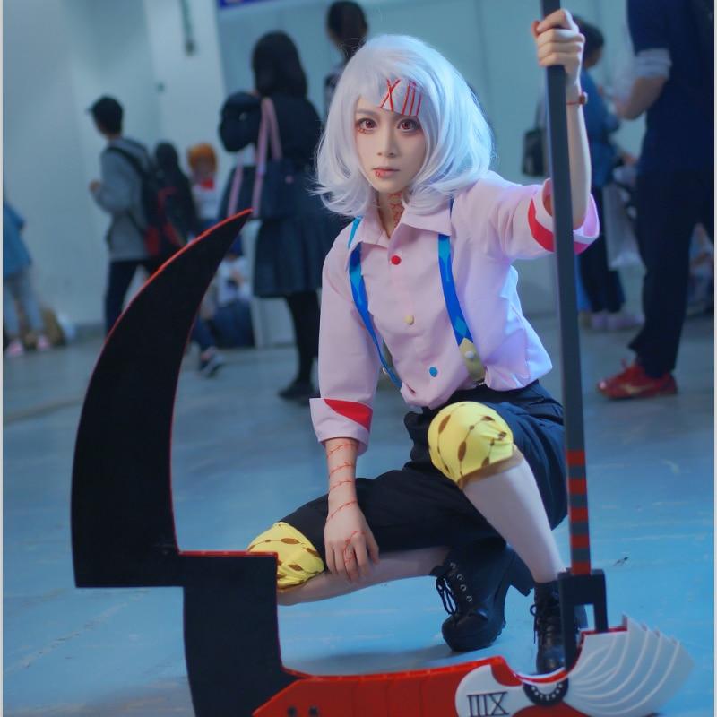 Rózsaszín / fehér Juzo Suzuya Rei Tokyo Ghoul Tokyo Guru Cosplay Cos jelmez Juuzou Suzuya teljes készlet (ing + nadrág + nadrágtartó + cipő + legging)