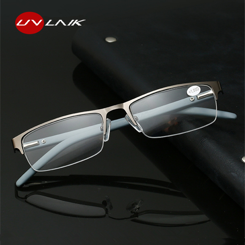 UVLAIK Metal Half Frame Reading Glasses Men Women Business Square Hyperopia Eyeglasses Prescription +2.5 +3.0 Far Sight Eyewear