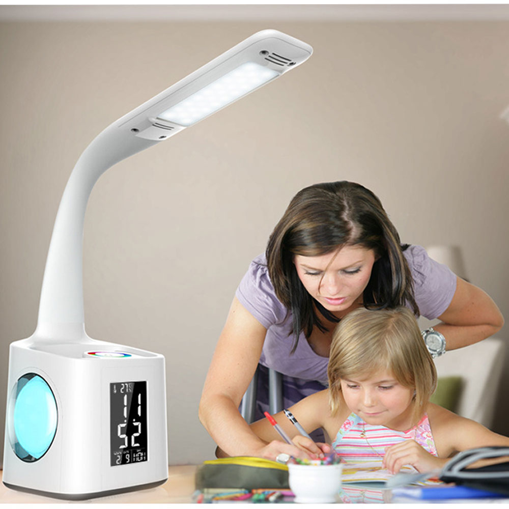 Foldable Eye Protect Dimmable LED Desk Lamp Student Study Table Light Touch Control Calendar Alarm Clock Temperature Lamp MYC led student desk lamp 3 stage dimmable with touch switch brush pot design foldable and adjustable table lamp arm design