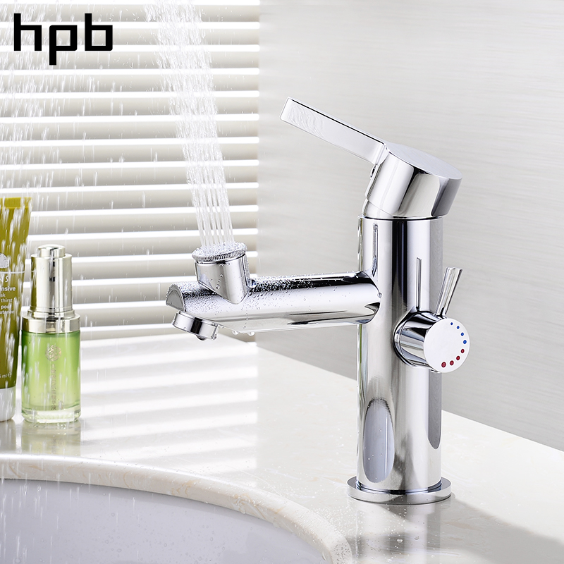 HPB Chrome Finish Upper Spray Bathroom Basin Mixer Faucet Sink Tap Hot and Cold Water Creative Cold And Hot On-Off Style HP3051 hpb square style tall basin faucet water tap chrome finished bathroom sink mixer single handle hot and cold hp3132