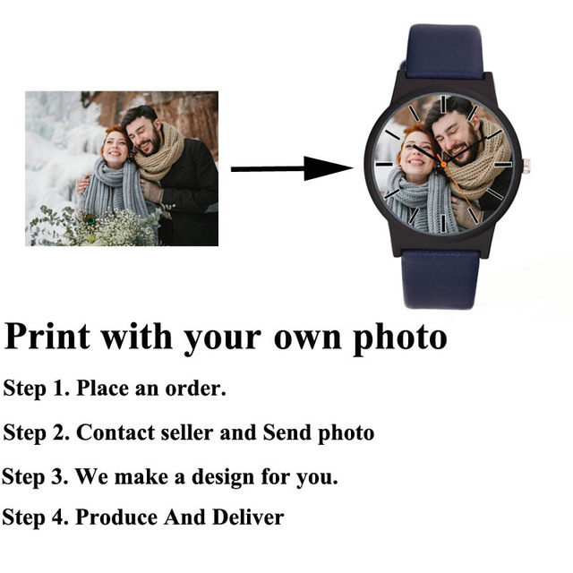 A3307 Lovers watch DIY with your own picture Custom clock dial leather sport casual fashion fit for men women creative watch 1