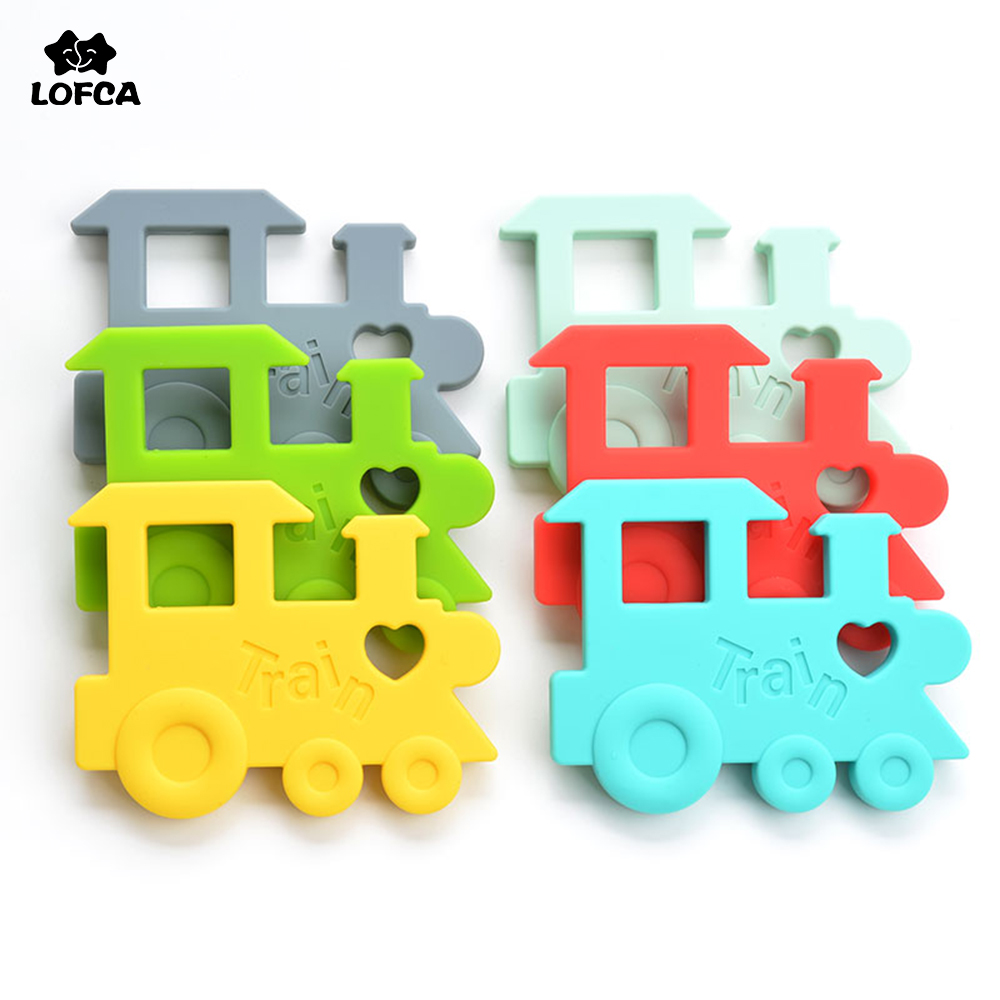 Silicone Train Teeher 2pcs/lot BPA Free Teething Pendant Necklace Baby Chew Toys Silicone Beads Cartoon Nursing Silicone Jewelry