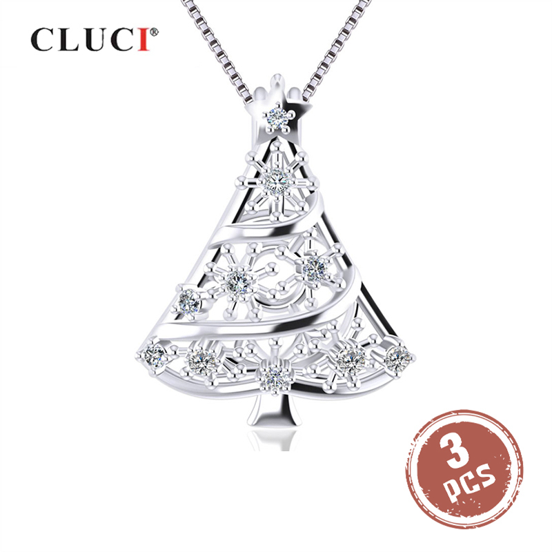 CLUCI 3pcs Christmas Tree Shape Pendant Sterling Silver 925 Women Necklace Pendant Christmas Gift Jewelry Pearl Cage Locket