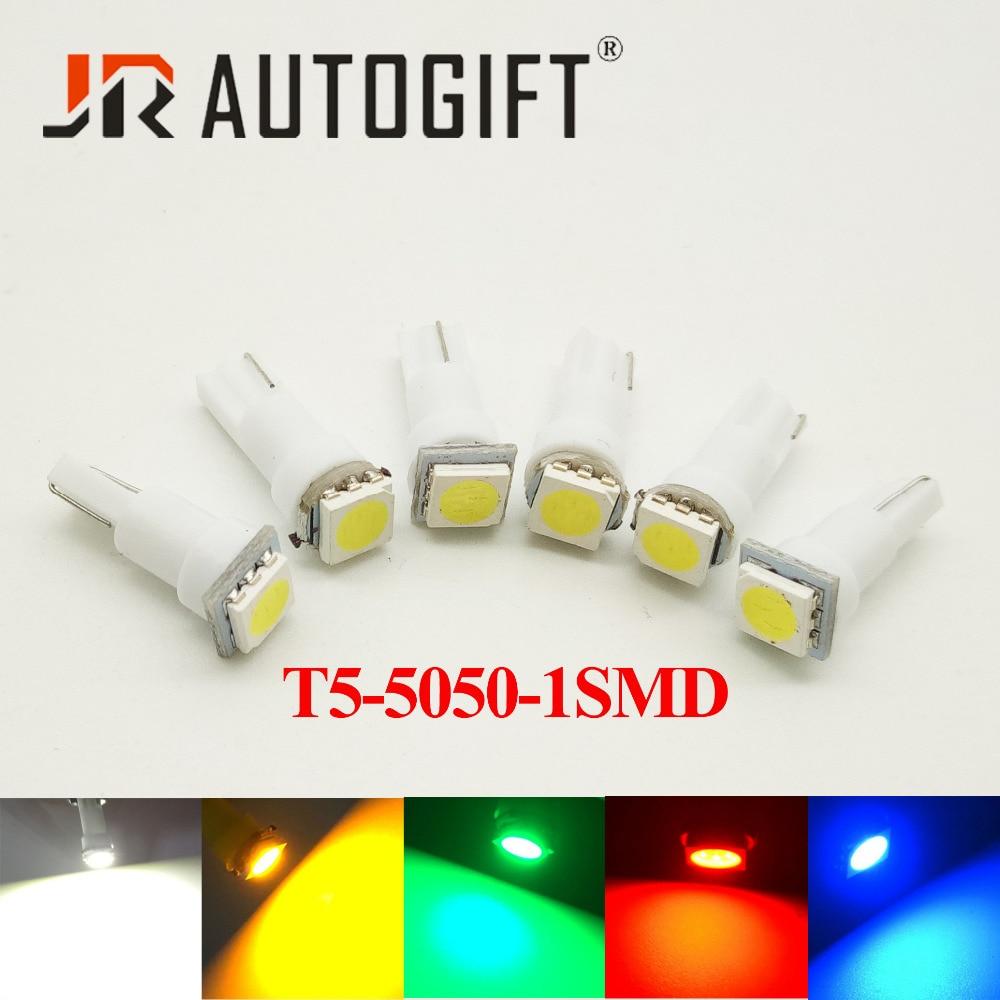 10 pcs T5 W3W W1.2W 5050 T5 17 37 73 74 5050 LED 24/12 V Vermelho/Azul /verde/Amarelo Auto CONDUZIU a Lâmpada Do Painel Do Carro Luzes Instrumento Lâmpada