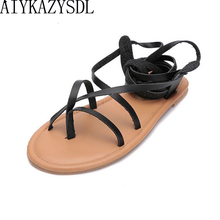 da8a63ac12326a AIYKAZYSDL women Gladiator Bohemia Sandals Flip Flops Summer strappy Faux  leather lace up thong clip ring