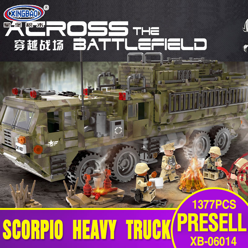 XINGBAO 06014 Genuine Military Series 1377PCS The Scorpion Heavy Truck Set Building Blocks Bricks Toys Children Christmas Gifts 8 in 1 military ship building blocks toys for boys