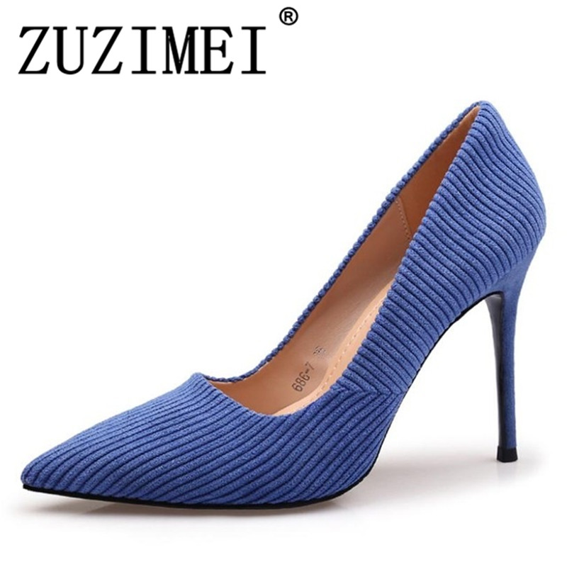 Spring Women Shoes Heel Shoes Woman Pointed Toe Heels High Heels Sexy Blue Heel Shoe For Women Stilettos Zapatos Mujer