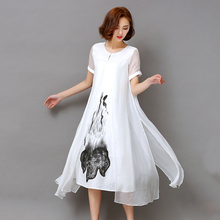 Vintage Summer Casual Dresses Floral Printed Short Sleeve Loose Women Vestido O-Neck Plus Size Female Mid-Calf Length Robe 1E53A(China)