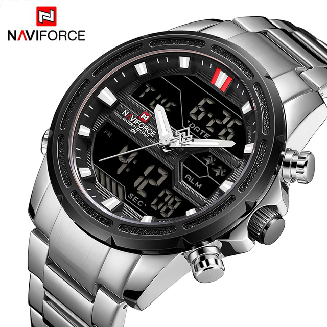 NAVIFORCE Men's Top Brand Dual Display Chronograph Waterproof Luxury Casual Quartz Watches