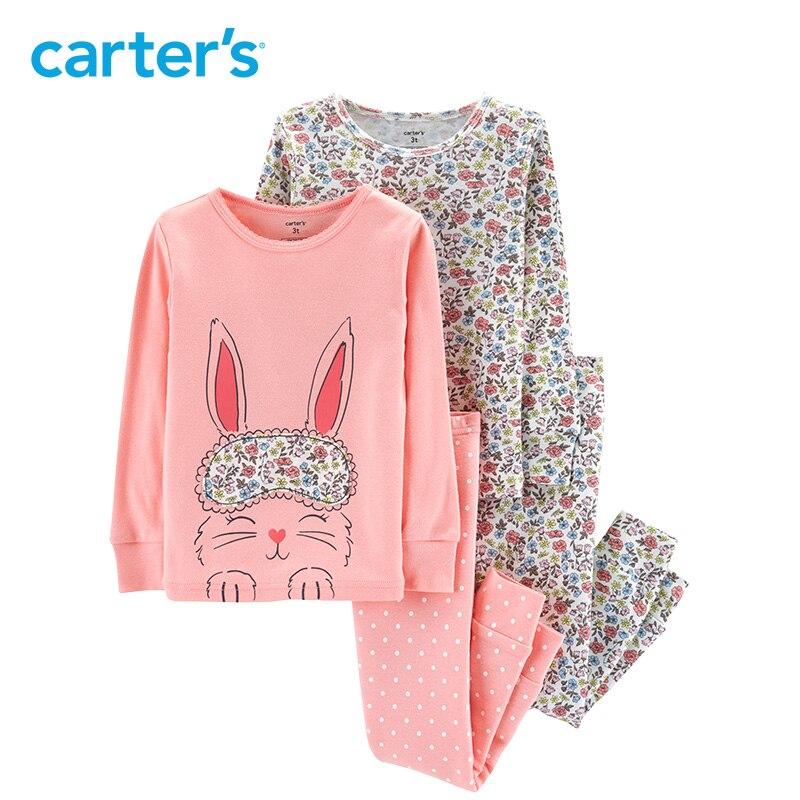 Carter de 4 pièce Lapin Ajustement serré Coton Pyjama Mignon lapin imprimer manches longues filles vêtements set enfant filles vêtements ensemble 24062023