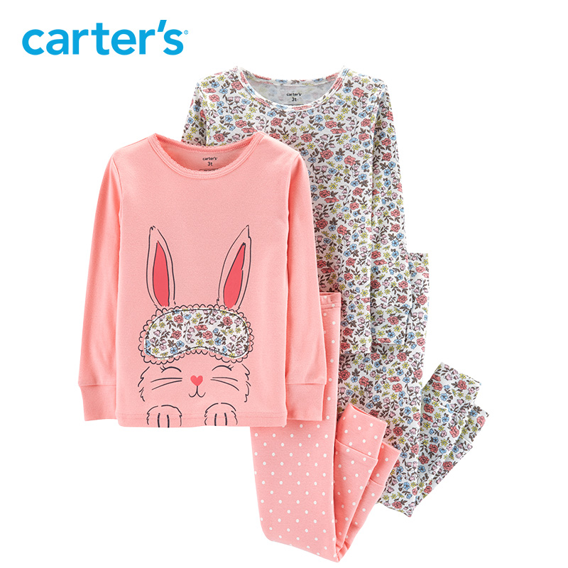 Carter's 4 Piece Bunny Snug Fit Cotton PJs Cute rabbit print long sleeve girls clothes set toddler girls clothing set 24062023 carter s 4 piece bunny snug fit cotton pjs cute rabbit print long sleeve girls clothes set toddler girls clothing set 24062023
