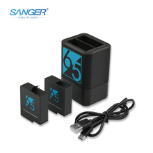 SANGER USB Dual Port battery chargers For GoPro Hero5/6 + 2PCS AHDBT-501 AHDBT501 Battery Pack For GoPro Hero6 Black Accessories