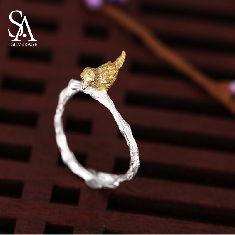 NEW 925 Sterling Silver Vintage Style Hand-made Branch Bird Opening Ring Adjustable Rings For Women Fashion S925 Jewelry Gift