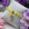 8mm Retro style Yellow Cats eyes beads Opal beads Chalcedony Natural stone Bracelet hand chain for women girls Pendant Gourd
