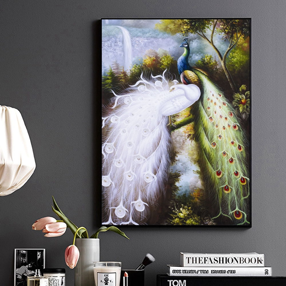 Witte Pauw en Kleur Pauw Handgemaakte Olie Canvas Schilderij voor Woonkamer Wall Decor Animal Vintage Home Decor Hand geschilderd - 3
