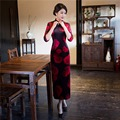 Free shipping long chinese dresses modern qipao dresses jupe chinoise robe chinoise vestido 3/4 Sleeve Cheongsam Velvet