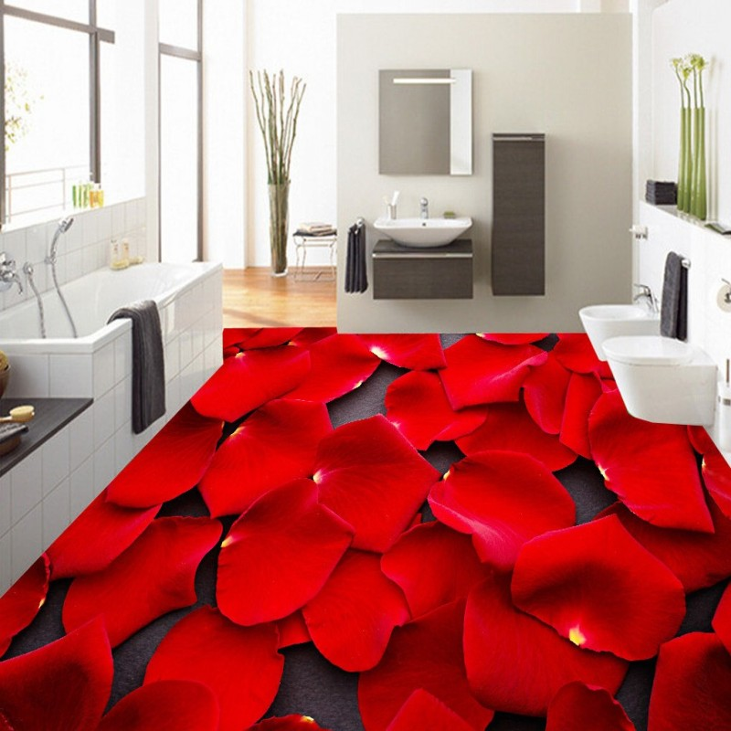 Free Shipping custom HD romantic rose petals 3D stereo floor mural Self-adhesive bedroom hotel bathroom flooring wallpaper free shipping custom 3d stereo gorgeous pearl shell flooring bedroom hotel store mall bathroom self adhesive wallpaper mural