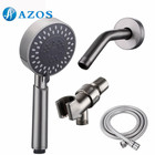 Bathroom Lavatory Three Function Handheld Shower Head Long Hose and Shower Arm Mount, Brushed Nickel Color LYTZ014