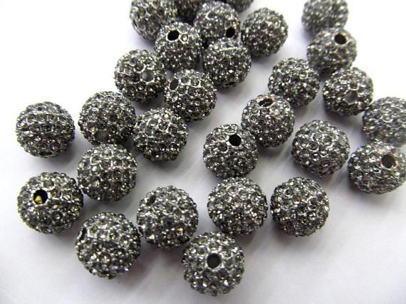 High Quality 100pcs 6-14mm,Bling Micro Pave Crystal grey craft Ball beads, Micro Pave Hematite Black Findings Charm, Round b taya t b 11472 neck bk hematite