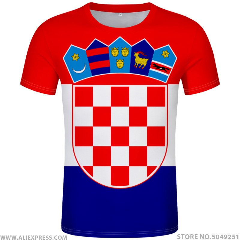 CROATIA t shirt diy free custom name number hrv t shirt nation flag croatian country hrvatska republic print photo logo clothing-in T-Shirts from Men's Clothing