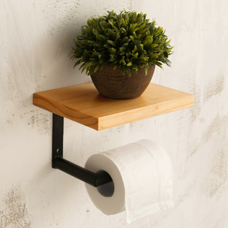 Retro Iron Bathroom Hotel Roll Paper Tissue Hanging Rack Wooden Shelf  Toilet Paper Holder Wall Mounted Bathroom Paper Holder