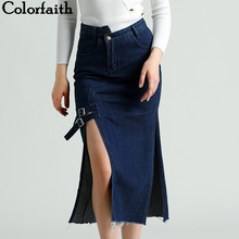Colorfaith 2019 Fashionable Women Midi Denim Skirt Autumn Winter Split Sexy Buttons Pockets A-line Skirt Fashion Casual SK3927(China)