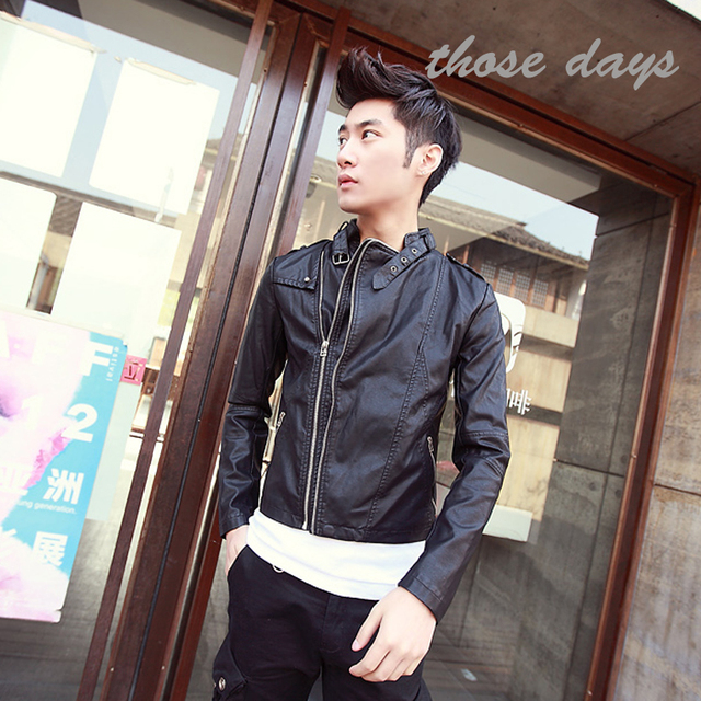 leather jacket male costume all-match star style Leather & Suede Men turn-down collar faux two piece leather clothing jacket