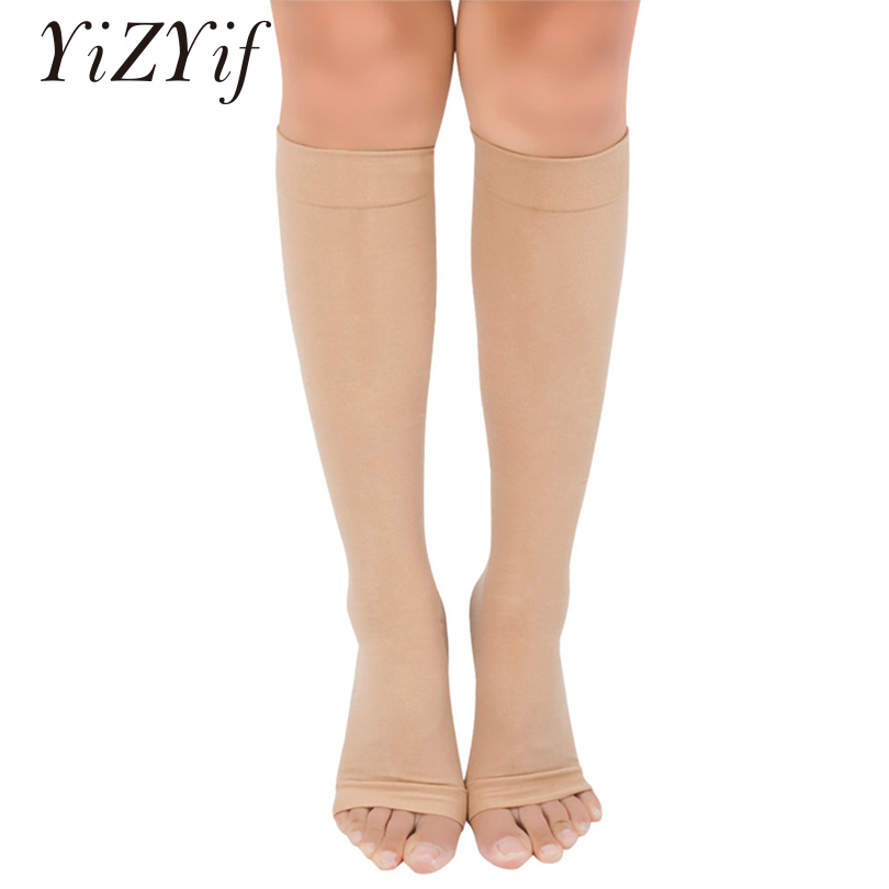 1 Pair Unisex Stocking Beauty Leg Shaper Compression Compression Knee High Open Closed Toe Leg Support Stocking