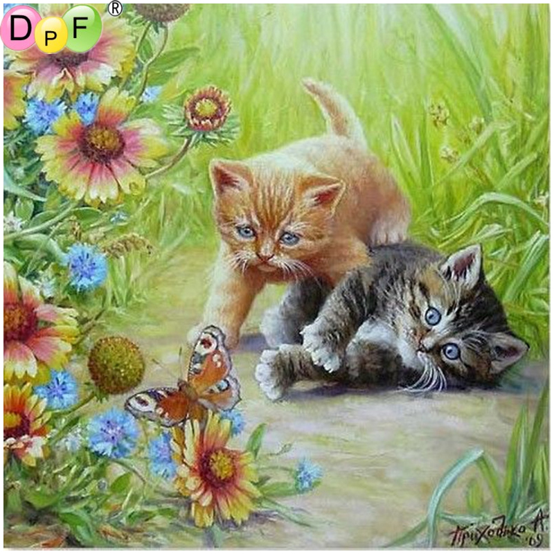 Dpf Diamond Embroidery Blue Eyes Cat Diamond Painting Cross Stich Diamond Mosaic Kit Full Square Needlework Home Decor Pattern Home & Garden Needle Arts & Crafts