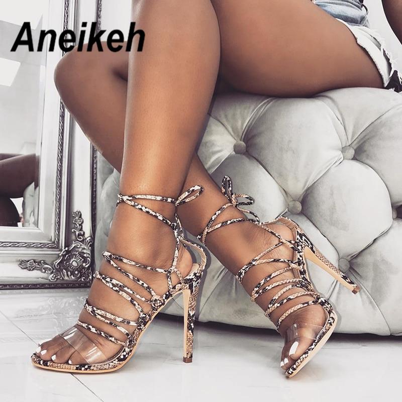 Aneikeh 2019 D'été Femmes Sandales Bride à La Cheville Talons hauts PU Imprimé Léopard Sexy Dentelle-Up Mince Talon Sandales Chaussures taille 35-40