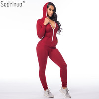Casual Women One Piece Jumpsuit Long Sleeve Bodycon Front Zipper Hooded Long Pants Sexy One Piece