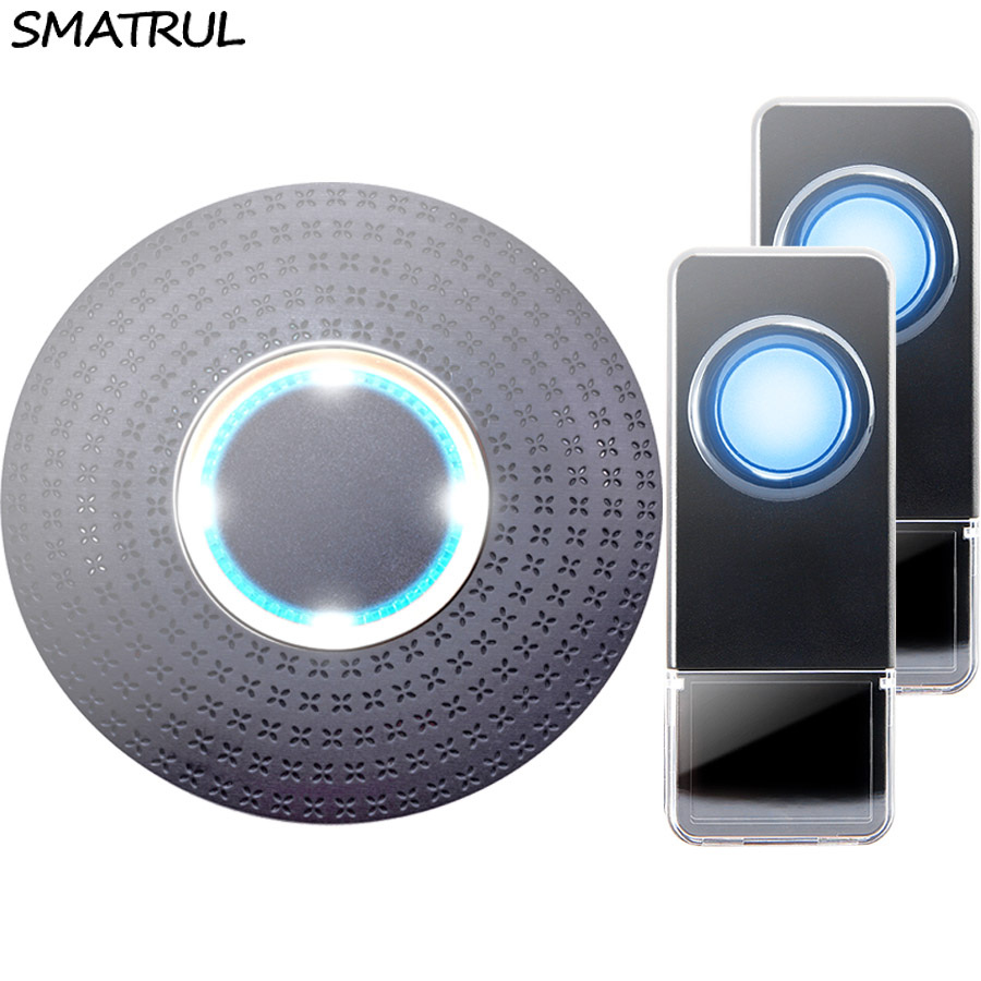 SMATRUL New Waterproof Wireless Doorbell EU Plug 300M Remote smart Door Bell Chime ring  2 button 1 receiver no battery Deaf Gorgeous lighting black