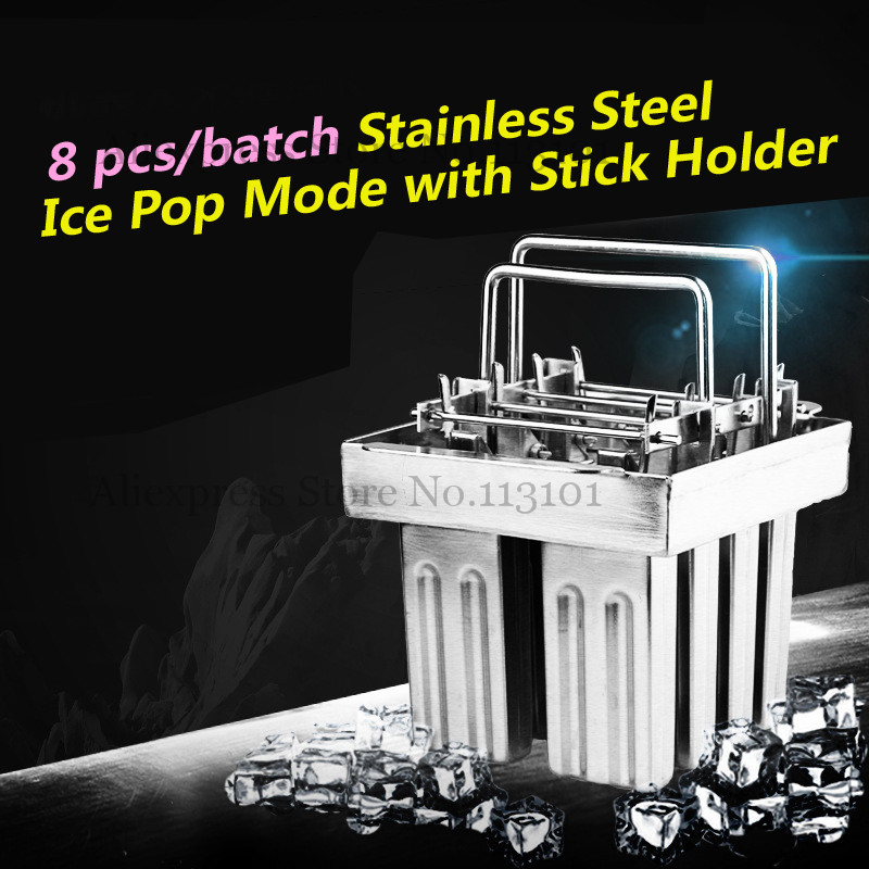 Frozen Ice Pop Maker 8 Molds/set with Popsicle Sticks Holder 8pcs/Batch stainless steel ice pop mould durable repeated use 30pcs set with stick holder