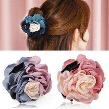 Haimeikang Новые Цветочные заколки для волос, большие тканевые пластиковые заколки для волос с цветами для женщин и девочек, аксессуары для волос с хвостиком