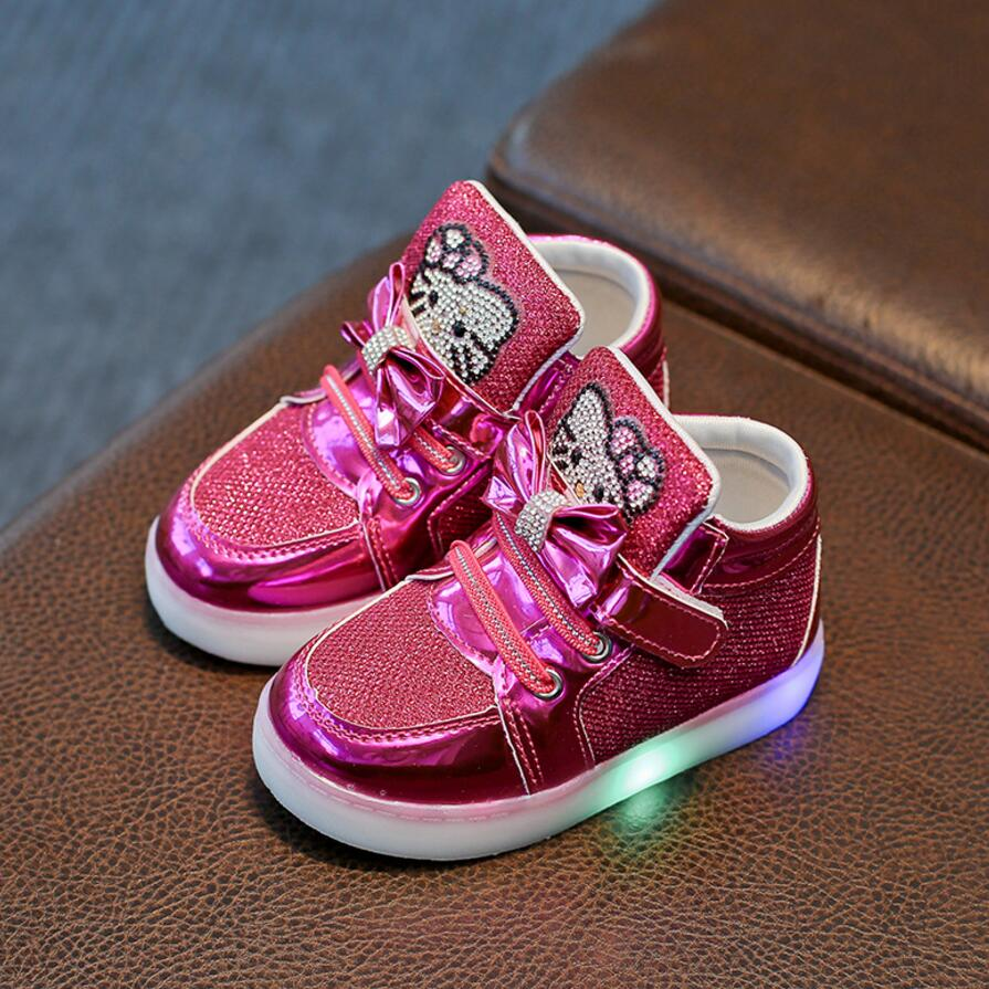 Brand New <font><b>Children</b></font> <font><b>Shoes</b></font> New Spring Hello Kitty Rhinestone Led <font><b>Shoes</b></font> Girls Princess Cute <font><b>Shoes</b></font> <font><b>With</b></font> <font><b>Light</b></font> EU 21-30 image