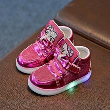 Zapatos nuevos para niños, nuevos zapatos Led de diamantes de imitación de Hello Kitty para niñas, zapatos bonitos de princesa con luz EU 21- 30