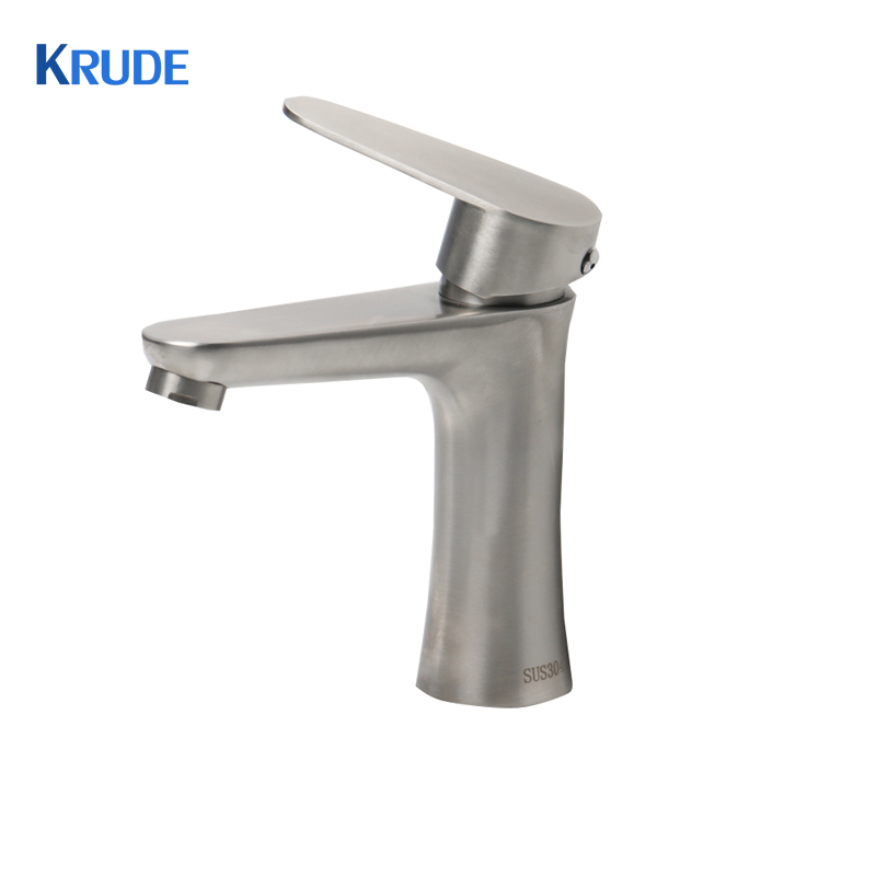 Deck Mounted Single Handle Basin Faucet Brushed Nickel Hot and Cold Water Mixer Taps Bathroom Faucet led waterfall bathroom basin faucet deck mounted washbasin bathroom tap 5 pcs set flush cold and hot water mixer taps