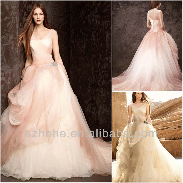 Free Shipping Cw1420 Gorgeous Soft Tulle Ball Gown Champagne Colored And Light Pink Wedding Dresses