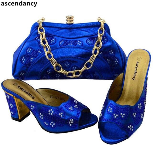 ce6e2074e Últimas Azul Royal Cor Sapato Correspondente Italiano e Saco Conjunto para  o Casamento Nigeriano Sapatos e