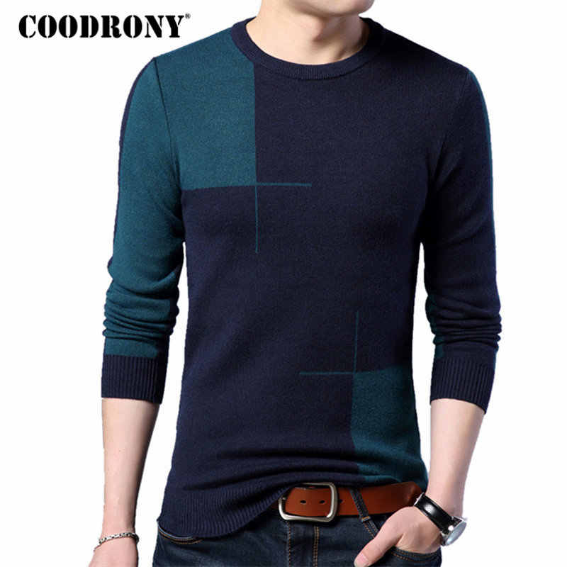 COODRONY 2018 New Autumn Winter Thick Warm Cashmere Sweater Men Casual O-Neck Pull Homme Brand Pullovers Mens Wool Sweaters 7185