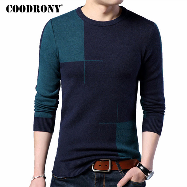 COODRONY 2018 חדש סתיו חורף עבה חם קשמיר סוודר גברים מזדמן O צוואר למשוך Homme מותג סוודרי Mens צמר סוודרים 7185