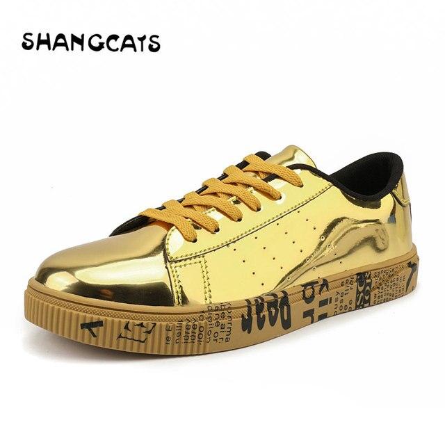 01dae667fdea € 20.52 30% de DESCUENTO|Aliexpress.com: Comprar Zapatos vulcanizados para  amantes, zapatos de plata dorada para hombres y mujeres, zapatos ...