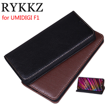 RYKKZ Luxury Leather Flip Cover For UMIDIGI F1 6.3 Mobile Stand Case Phone