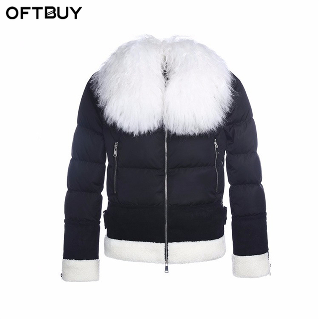 US $81.88  OFTBUY 2017 nieuwe winter jas vrouwen basic jassen 100% real geit bontkraag witte eend donsjack korte zwart warm dames jassen in OFTBUY