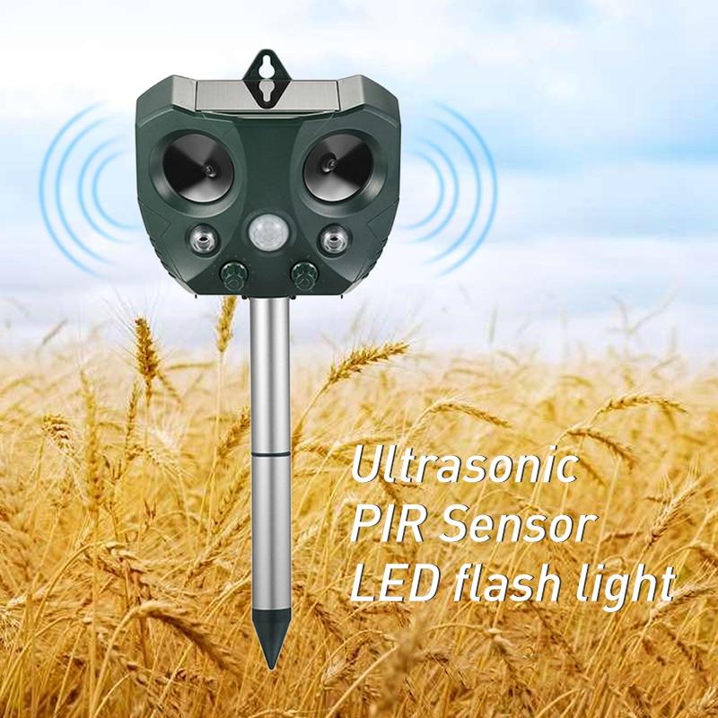 Outdoor Ultrasonic Solar Pest Repeller Animal Pest Mouse Repeller PIR Sensor Garden Bird Cat Dog Repellent Keep Animals Away