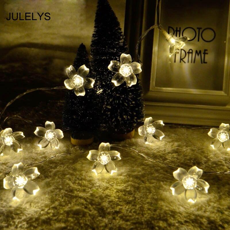 JULELYS 10M 80 Lampor Körsbär Garland Batteridrivna Dekorativa - Festlig belysning