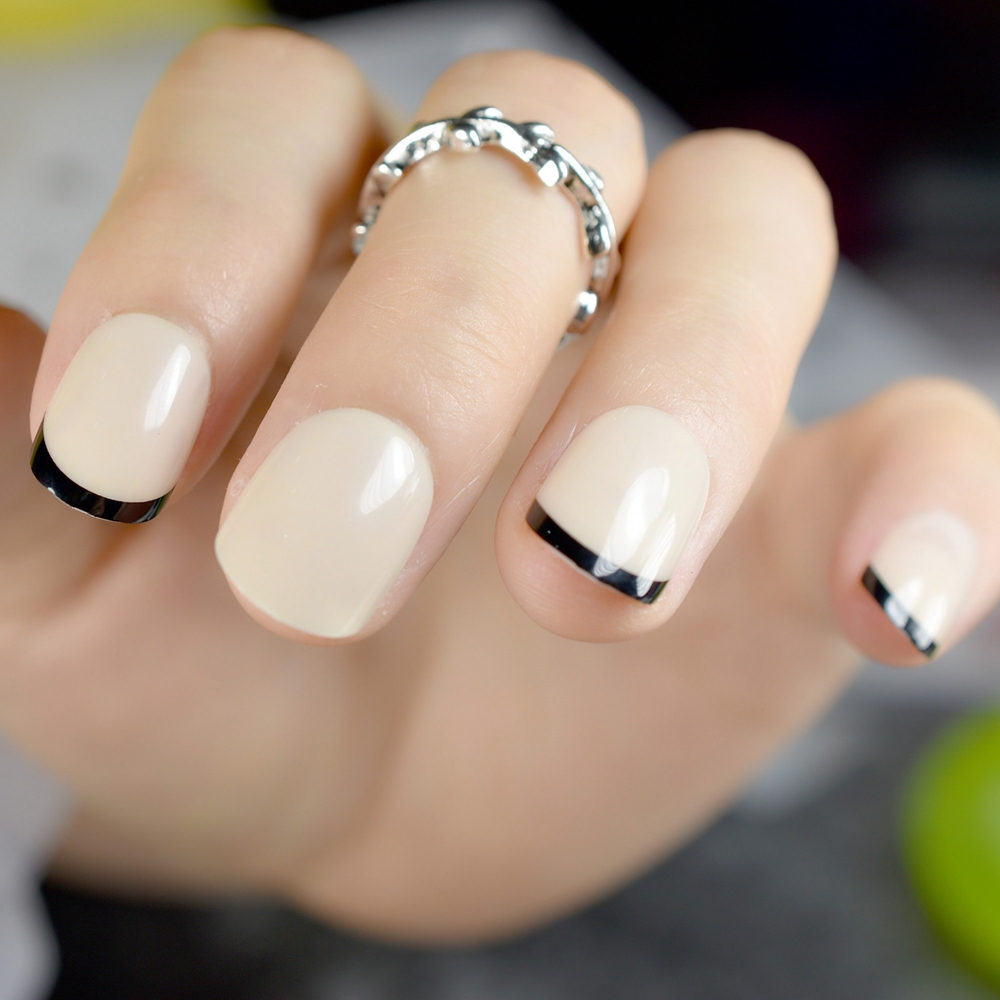Beige French Nail Small Black Short Press On Nails Designed Round ...