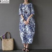 L 5XL ZANZEA Womens Floral Printed Short Sleeve Cotton Linen Maxi Long Dress Loose Baggy Boho